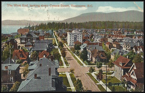 c. 1914 (111,067) Valentine & Sons' Postcard - View of the West End, looking down Comox Street, Vancouver, British Columbia
