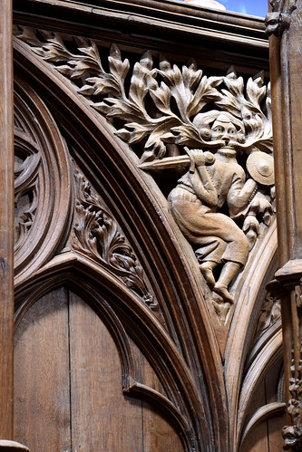 Winchester, Hampshire, cathedral, choir stalls, seatbacks, spandrel