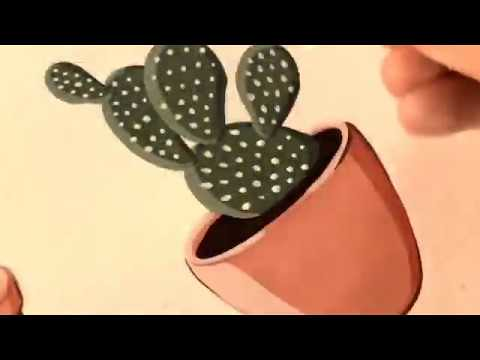 DIY DRAWING ART: CACTUS 🌵 🎨 PAINTING|Cactus painting |Cactus painting, Painting