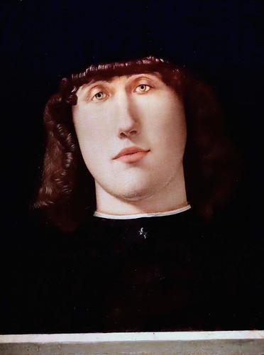IMG_4427E Lorenzo Lotto 1480-1557 Venise, Les Marches Portrait d'un jeune homme Portrait of a young man vers 1500 Bergamo Accademia Carrara