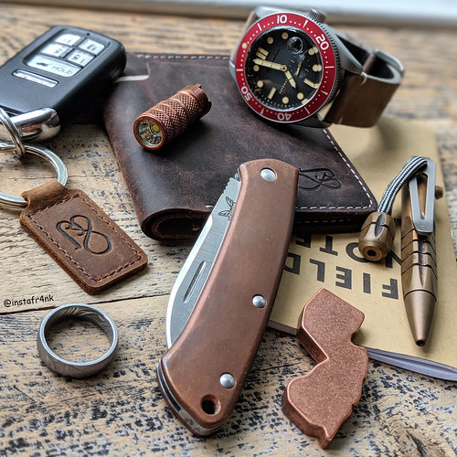 Benchmade Proper with copper Flytanium covers, Minipen, Spinnaker Croft