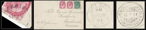 British Columbia / B.C. Postal History / 5¢ UPU Letter Rate - 28 September / 16 October 1901 - YMIR, B.C. (split ring / broken circle cancel / postmark) via Nelson, B.C. to Gamlakarleby / Kokkola, Finland, Europe