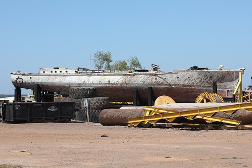 World War Two MV Rushcutter / HDML 1321 under repair at East Arm, Darwin, Northern Territory, Australia.