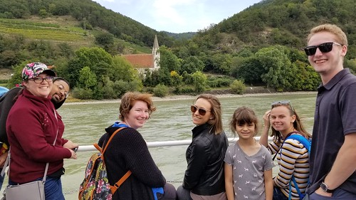 Lilly, Johnny, Amber, Haley,  Vienna, Anna, and Garrett on a boat on the Danube River during our Wachau river excursion