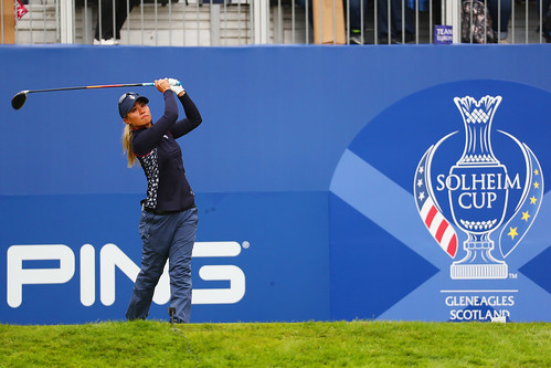 Danielle Kang of the USA tees off the first hole during Sunday single matches