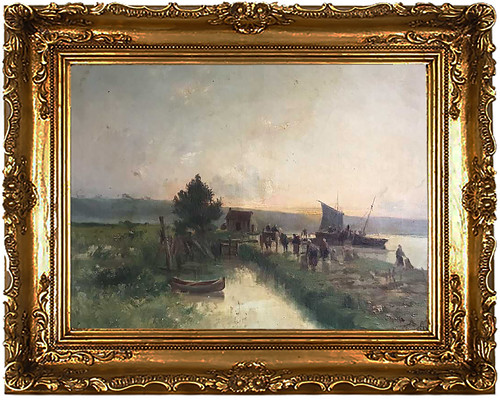 Gaston Anglade Landscape Oil Painting 19th c.