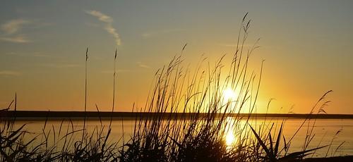 Setting Sun At Fleet Lagoon Dorset