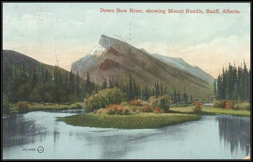 c. 1905 (100,448) Valentine & Sons' Postcard - Looking down the Bow River showing Mount Rundle, Banff, Alberta