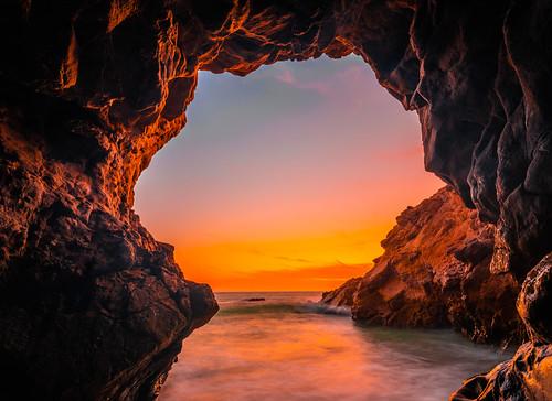Malibu Sea Cave Sunset Dusk Fine Art Landscape Nature Photography! Fujifilm GFX 100 Medium Format Mirrorless Camera! Elliot McGucken Fuji GFX100 Ocean Art Seascape Photography! Fujifilm Fujinon GF 23mm F/4 R Lm Wr Lens GFX Medium Format!