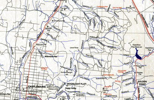 Castlemaine Gold Diggings Map Historical and Modern Place Names  Clive E. Willman