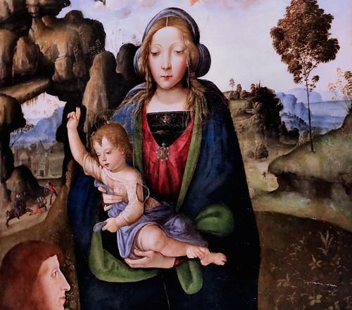 IMG_6752B Pinturicchio (Bernardino di Betto) 1454-1513 Sienne Vierge à l'Enfant  et un donateur  Virgin and Child and a donor Milan Pinacoteca Ambrosiana