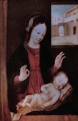 IMG_6731 X suiveur du Bourguignon (Ambrogio Stefani da Fossano, dit il Bergognone ou Borgognone (le Bourguignon)  actif en Lombardie  à partir de 1472 - mort en 1523.   Madona del velo Madonne au voile. Madonna to the veil. Milan Pinacoteca Ambrosiana