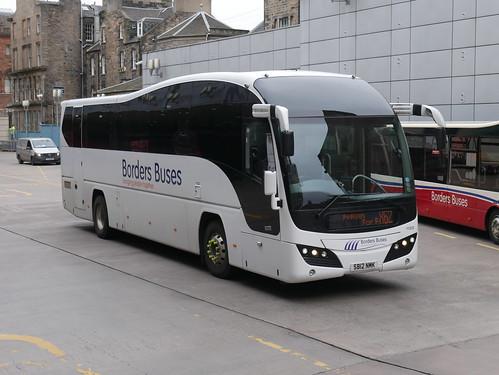 Borders Buses Volvo B9R Plaxton Elite SB12NMK 11233 operating service X62 to Melrose departing Edinburgh Bus Station on 5 September 2019.