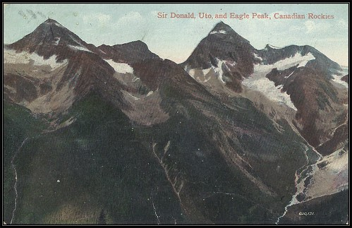 c. 1908 (600,131) Valentine & Sons' Postcard - View of Sir Donald, Uto and Eagle Peak, Canadian Rockies in British Columbia