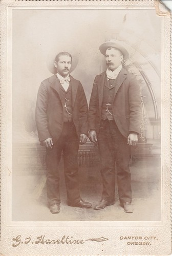 Cabinet Photo_two young men with mustaches and wearing hats, Canyon City, Oregon