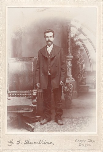 Cabinet Photo_gentleman with clothes a little big for him, Canyon City, Oregon