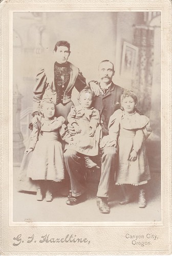 Cabinet Photo_faded portrait of a family of five, Canyon City, Oregon