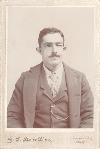 Cabinet Photo_close-up portrait of man with mustache, Canyon City, Oregon