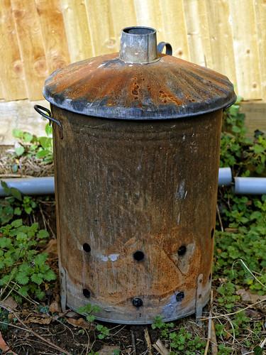Garden waste burner bin in Nuthurst, West Sussex, England 01