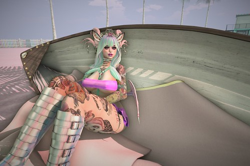 chilling in a boat as a pastel demon