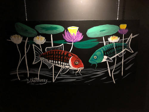 Artist & Humanitarian David Chatowsky's painting for 'The 6 Koi' Exhibit at Jade Eatery & Lounge,  Forest Hills
