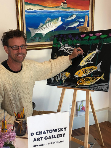 Artist & Humanitarian David Chatowsky paints 'Koi with Water Lilies' for 'The 6 Koi' Exhibit, Jade Eatery & Lounge, Forest Hills