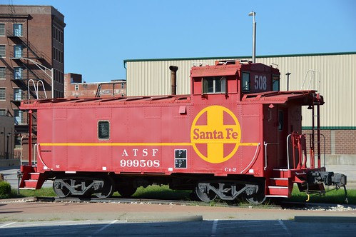 ATSF Caboose 999508 is on display near a walking trail at the KC west bottoms, Kansas City Missouri