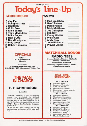 Middlesbrough vs Wolverhampton Wanderers - 1982 - Back Cover Page