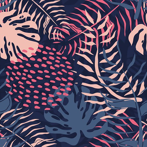 Tropical seamless pattern with palm leaves. Summer floral pattern with pink palm leaves and monstera foliage on dark background.seamless pattern for textile industry - Popular Inspiration — Designspiration