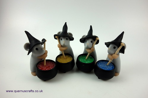 Little Grey Witchy Cauldron Mice