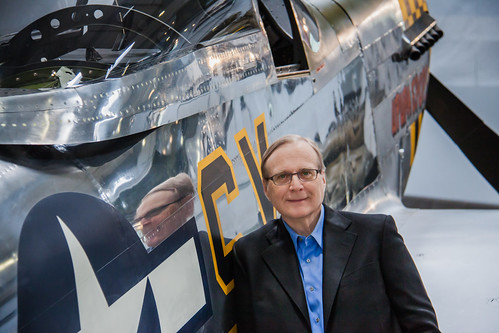 Paul Allen next to one of his favorite planes, the P-51 Mustang