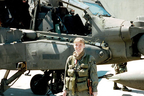 US Army First Female AH-64 Apache Combat Helicopter Pilot Leslie Herlick