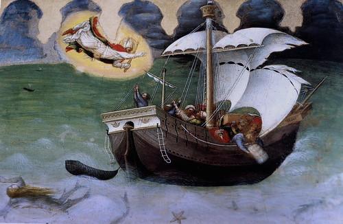 IMG_2950QAE Gentile da Fabriano 1370-1427  Actif en Toscane  Histoires de saint Nicolas de Bari. Le saint sauve un navire du naufrage  Stories of Saint Nicholas of Bari. The saint saves a ship shipwreck Vatican Pinacothèque