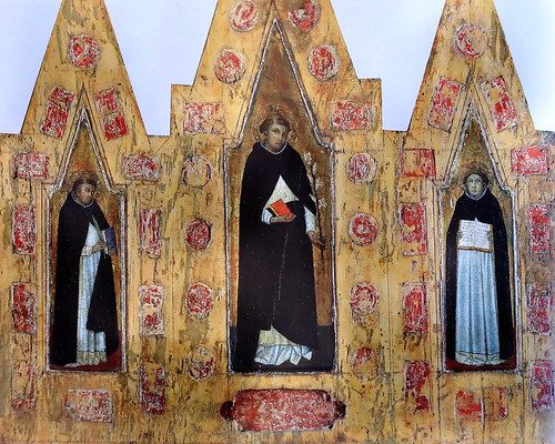 IMG_2950PI Lippo Vanni actif à Sienne 1340-1375 Saint Dominique, Saint Pierre martyr et Saint Thomas d'Aquin Saint Dominic, Saint Peter martyr and Saint Thomas Aquinas ca1360 Vatican Pinacothèque  45x52