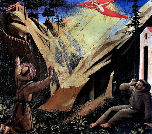IMG_2950QAI Fra Angelico 1395-1455 Florence Saint François reçoit les stigmates  ca 1440s Saint Francis receives the stigmas  Vatican Pinacothèque  27x33  partie de prédelle