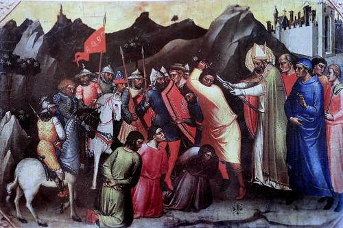 IMG_2950QA Mariotto di Nardo actif à Florence 1394-1424 Saint Nicolas sauve trois hommes de la décapitation  Saint Nicolas saves three men from decapitation  ca 1380 Vatican Pinacothèque  35x55 Prédelle