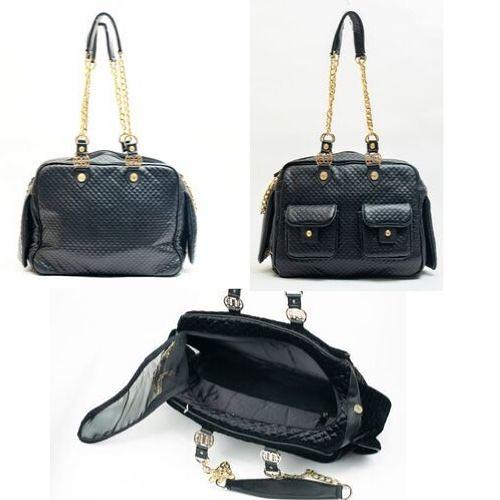 1)Black Sparkle Dog Carry Bag at Duke and Dutchess USA