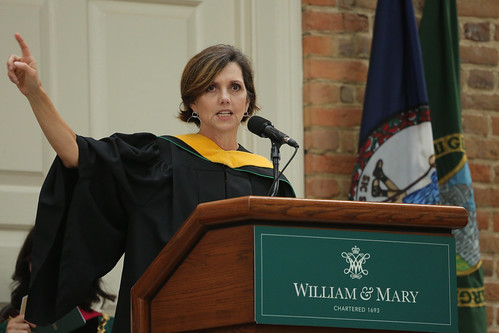 Beth Comstock '82 encourages the new students to embrace discovery during Opening Convocation.