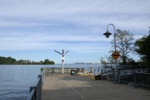 Bump warning sign at end of floating bridge Hamilton Waterfront Trail