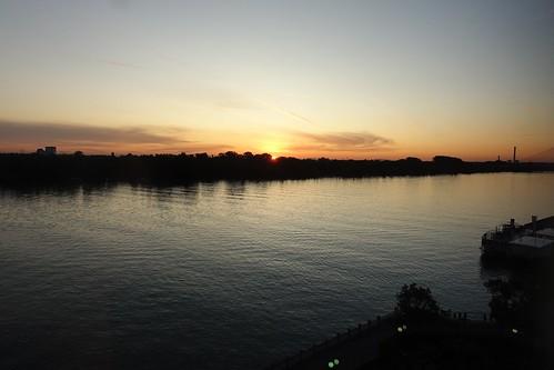 Sunrise at Hilton Danube waterfront Vienna (2), 20 September 2019.  Sony RX100M3.