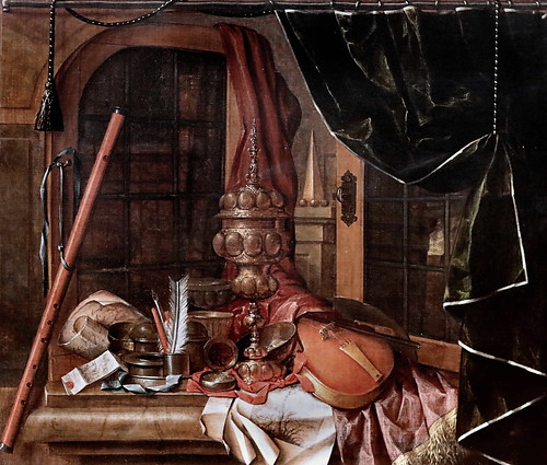 IMG_1408 Franciscus Gijsbrechts 1649-1676 Deckelpokal, Geige und Schreibutensilien vor einem Fenster Lidded cup, violin and writing utensils in front of a window Coupe à couvercle, violon et ustensiles d'écriture devant une fenêtre Schwerin. Staatliches M