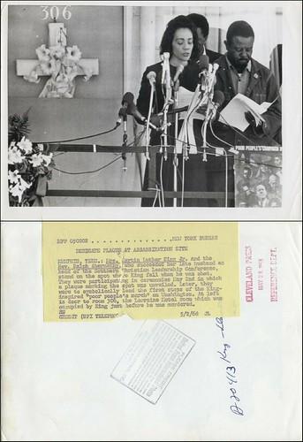 May 2, 1968 press photo of Coretta Scott King and Rev. Abernathy at MLK commemorative plaque unveiling, Lorraine Motel, Memphis, Tennessee