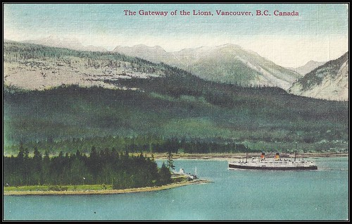 c. 1942 Coast Publishing Postcard - View of the Gateway of the Lions at Vancouver, B.C., Canada