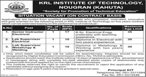 KRL Institute of Technology Kahuta Latest Jobs Advertisement 2019