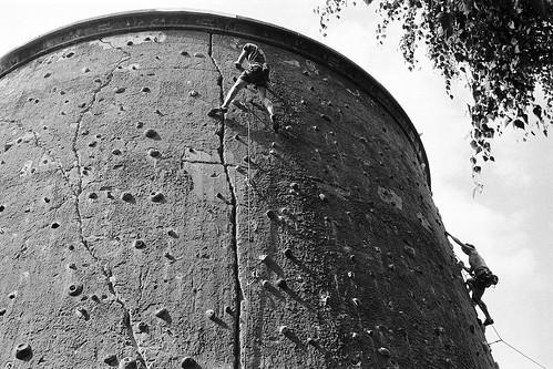 Climbing at the Der Kegel climbing centre in Berlin.
