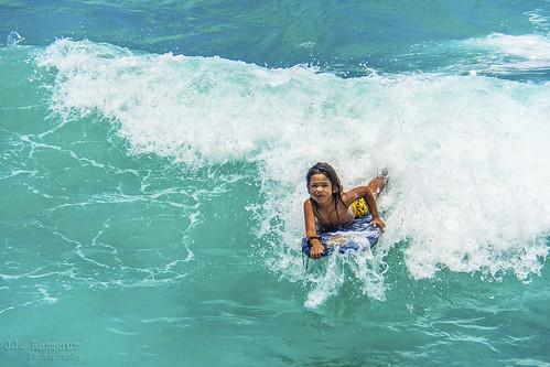 Young Hawaiian Boogie Boarder - Waikiki Beach - Honolulu, Oahu, Hawaii