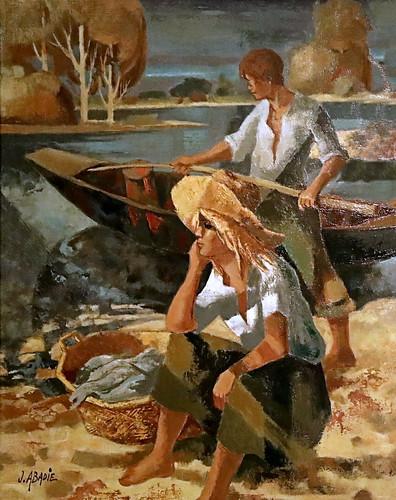 IMG_3818A Jean Abadie 1912-2010 France Pêcheurs au saumon de la Loire  Salmon fishermen Loire 1997 Augsburg  Glaspalast Kunstmuseum Walter.