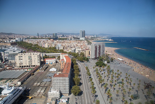 Barceloneta Beach and the view towards the north.
