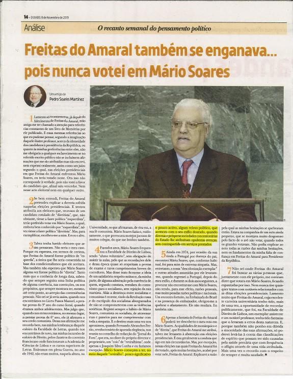 Pedro Soares Martinez,«Freitas do Amaral também se enganava… pois nunca votei em Mário Soares», in «O Diabo, 8-XI-2019