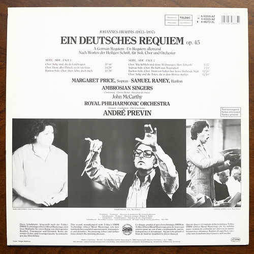 Backside Brahms - Ein deutsches Requiem - Margaret Price, Samuel Ramey, Ambrosian Singers, Royal Phil. Orch., Andre Previn, Teldec 6.43335 AZ, DMM Digital, 1986